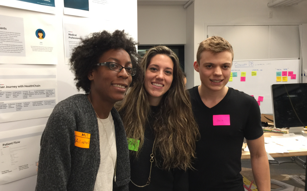 My IDEO CoLab Teammates: Myself, Karíme Esper, Zach Frew, Emmeline Cardozo (not pictured [she came in for the day and had to catch a plane])