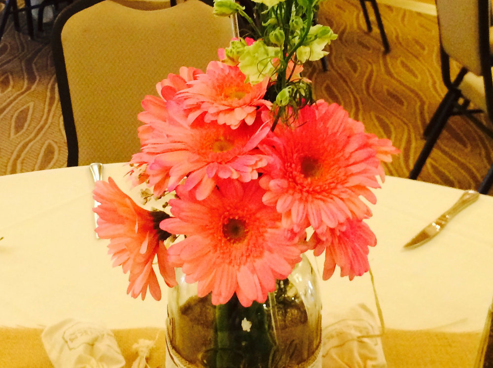 Hot Pink Gerber Daisies and Country Burlap