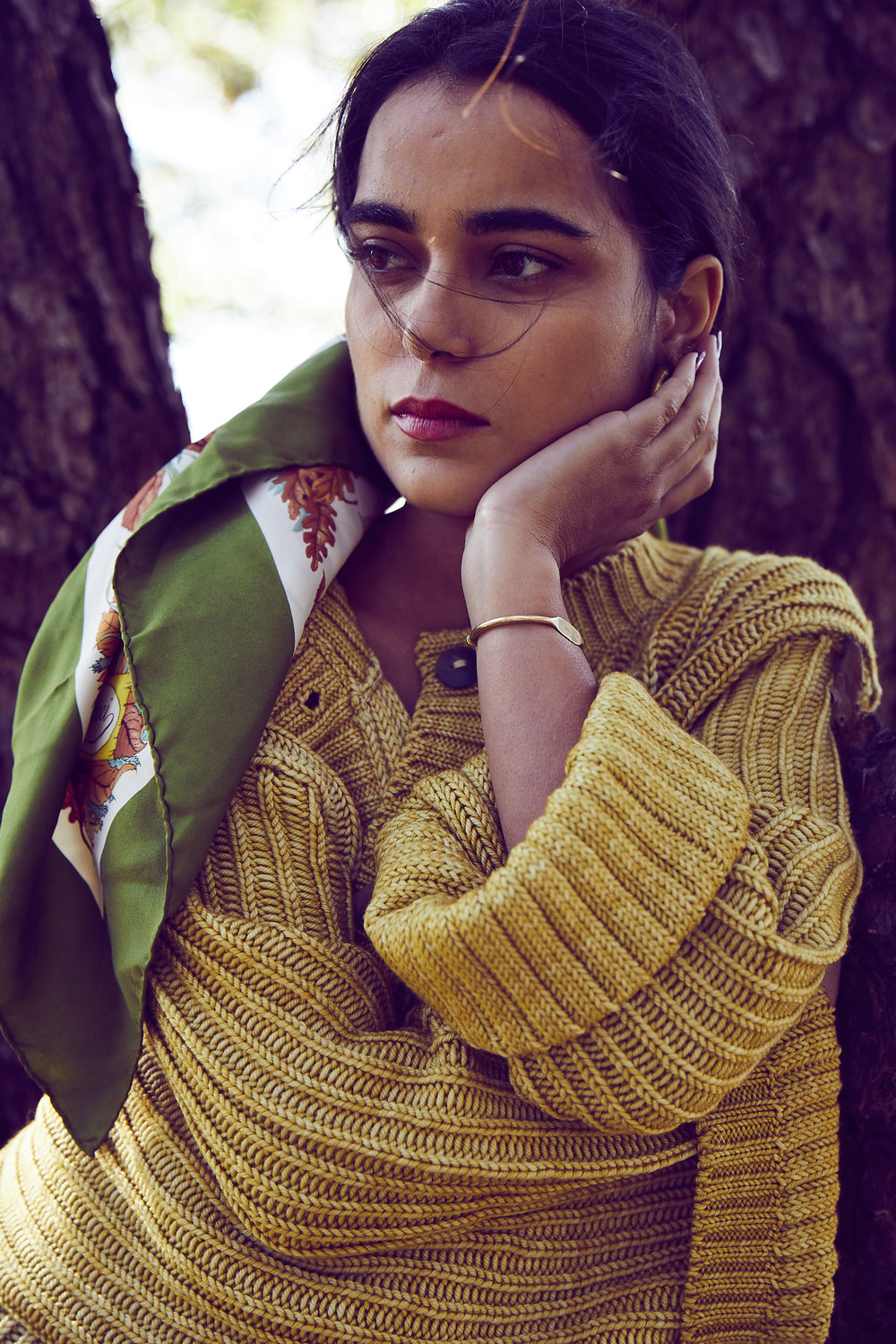 - Vivian on our shoot wearing her own vintage gucci scarf.Worn with studio cardigan in winter wheat     photo: Leonard Greco