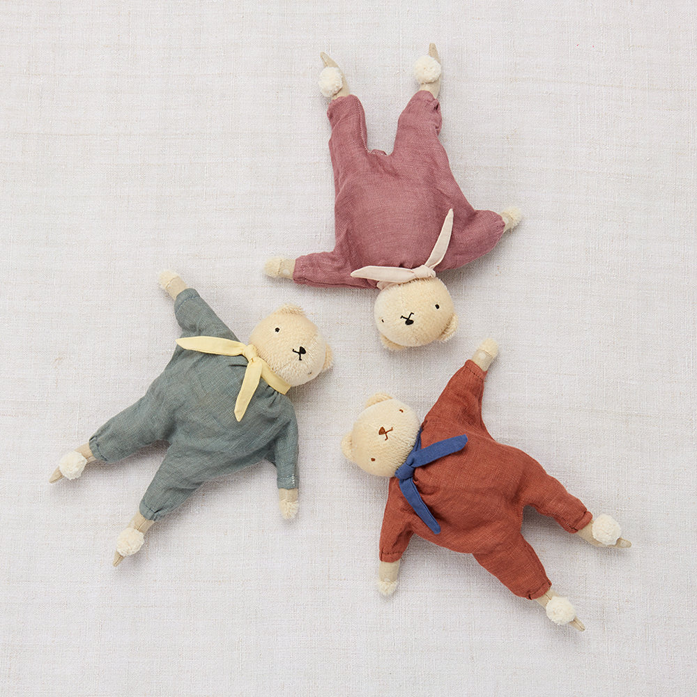 star bears  made from mohair and hand dyed linen jumpsuits