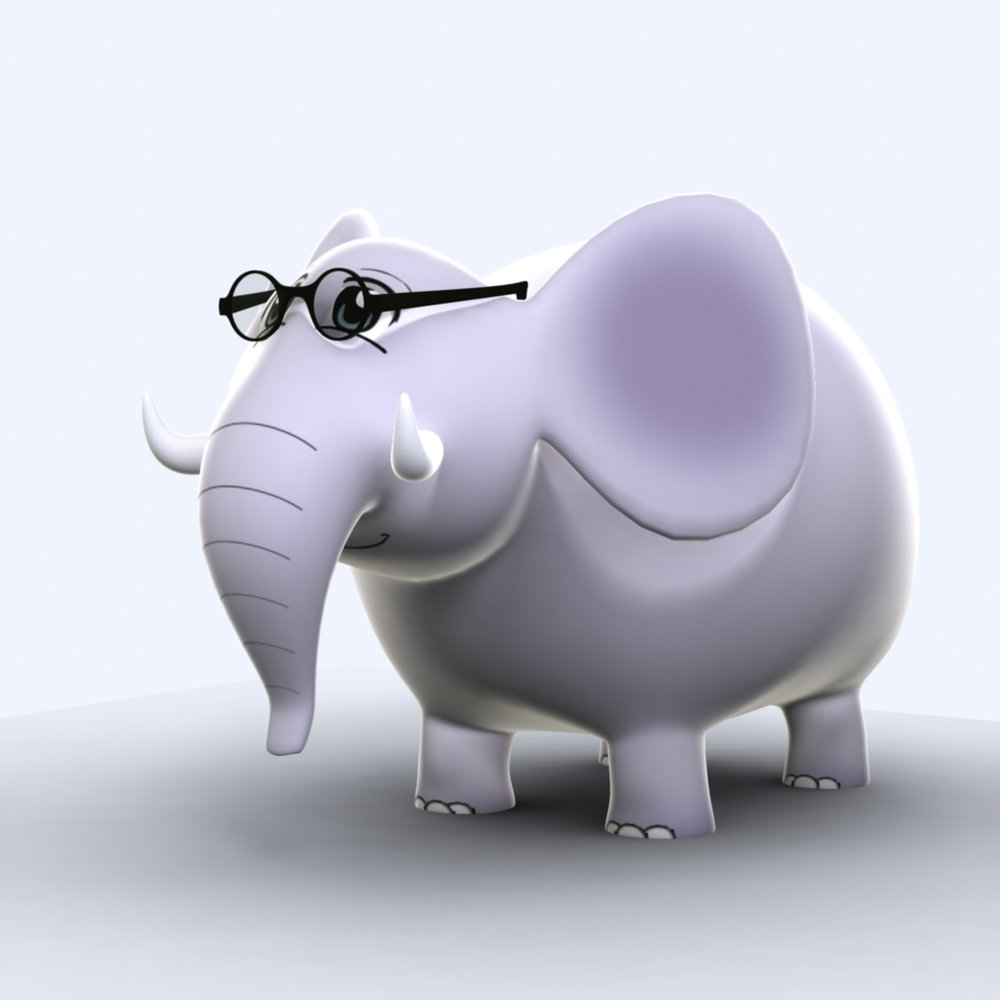 Spanish Safari's Esteban el elephant with black glasses.