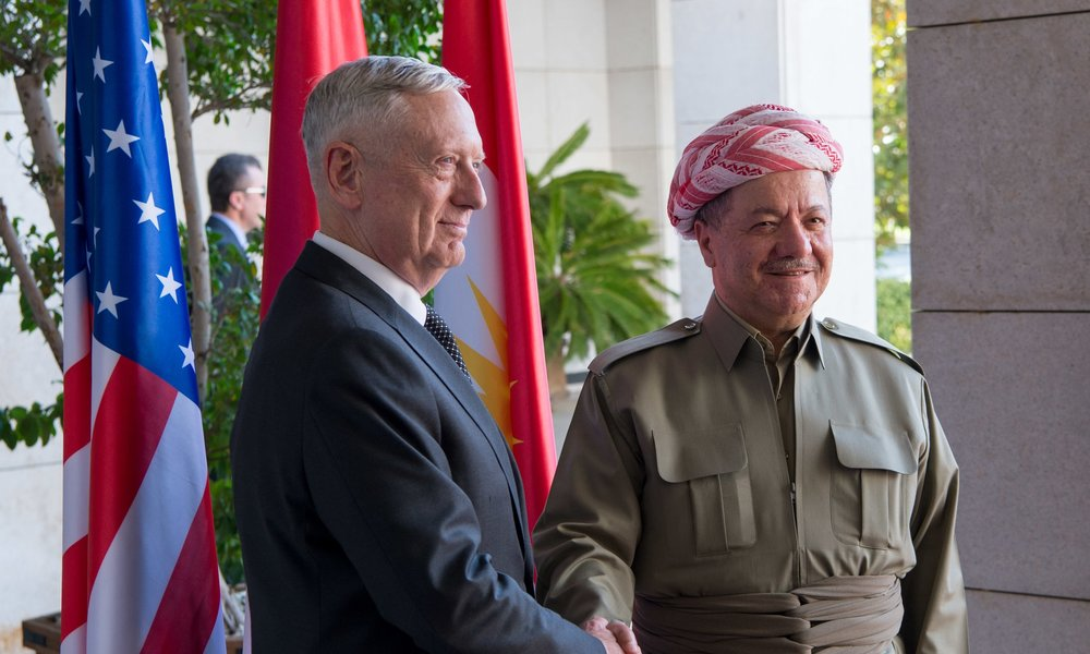 U.S. Defense Secretary James Mattis, left, shakes hands  with Iraq's Kurdish Regional President Masoud Barzani during a visit to Erbil, Iraq, Aug. 22, 2017. (DOD photo by U.S. Air Force Staff Sgt. Jette Carr)