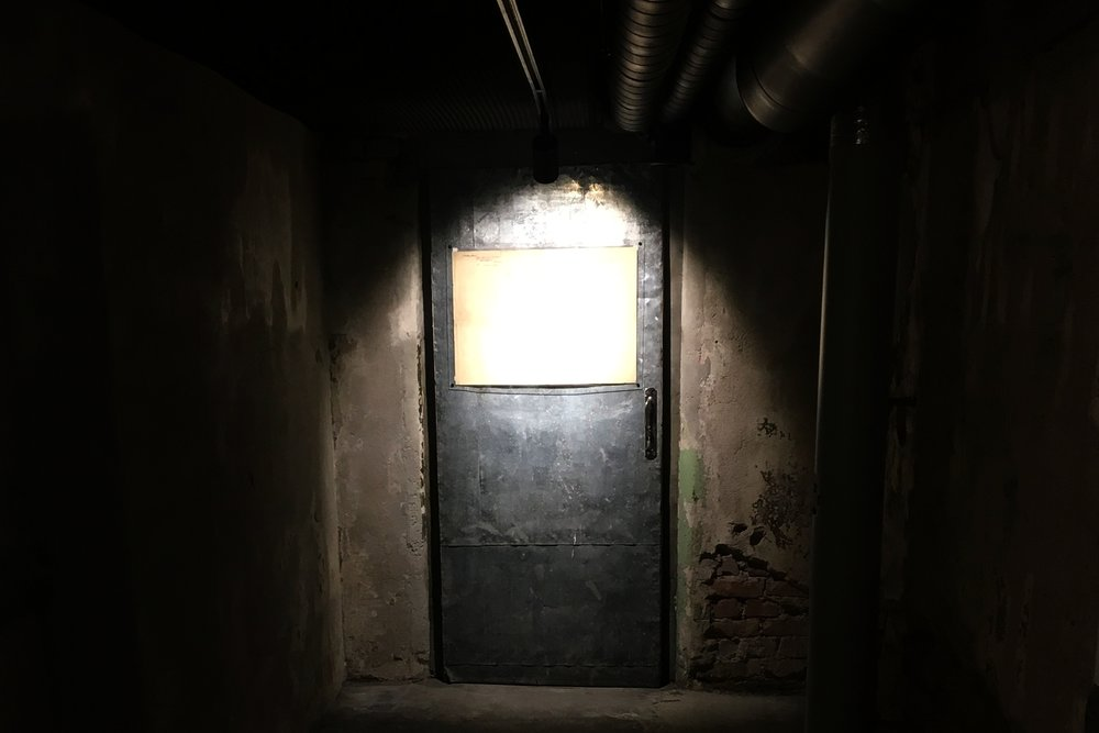 A locked door in Pagari 1, a former KGB prison and interrogation center and a relic of a dark time in Tallin, Estonia. (Credit: Lee Ferran)