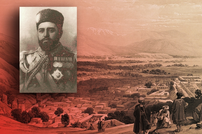 Foreground: Habibullah Khan. Background: 1842 lithograph of Kabul by Louis Haghe, James Atkinson and Charles Haghe.