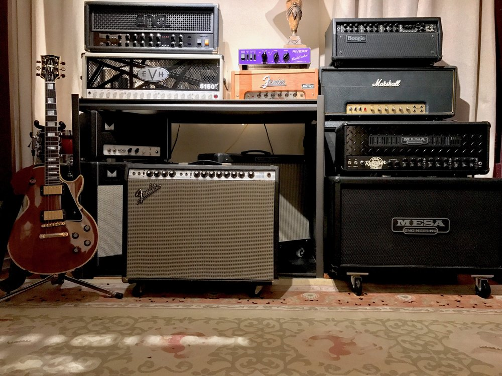 Amplifiers & Speaker Cabinets - ENGL PowerballEVH 5150 III 100-Watt HeadEgnater Tweaker 40Fender Twin (1972)Fender Hot Rod DevilleFender Blues Jr. (Modded)Fender Studio Bass 1x15Marshall 50w Lead (1972)Marshall Vintage 4X12 (1960, Scumback/GT-75)Mesa-Boogie Dual RectifierMesa-Boogie Mark VMesa-Boogie 2X12 Rectifier Cab (V30)Morgan AC40 DeluxeMorgan 2X12 Gold Cab (12H-75 Creamback/Alnico Gold)Morgan Chameleon Iso Cab (G12H-75 Creamback)Rivera
