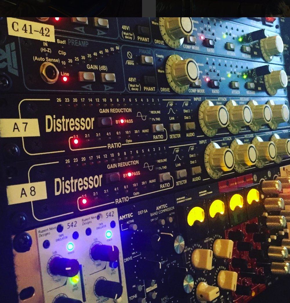 Dynamics - (1)        Amtec Band Compressor(2)        Chandler Ltd. Little Devil(2)        Dramastic Audio Obsidian(2)        Empirical Labs EL-8X Distressor             (w/Brit Mod)(2)        Empirical Labes Mike-E(1)        Empirical Labs DerEsser(2)        Inward Connections The Brute(1)        Purple Audio MC-77(2)        Serpent Audio SB4001(2)        Shadow Hills Industries Dual             Vandergraph(1)        Retro Instruments Doublewide(2)        Rupert Neve Designs Portico II             Master Buss Processor