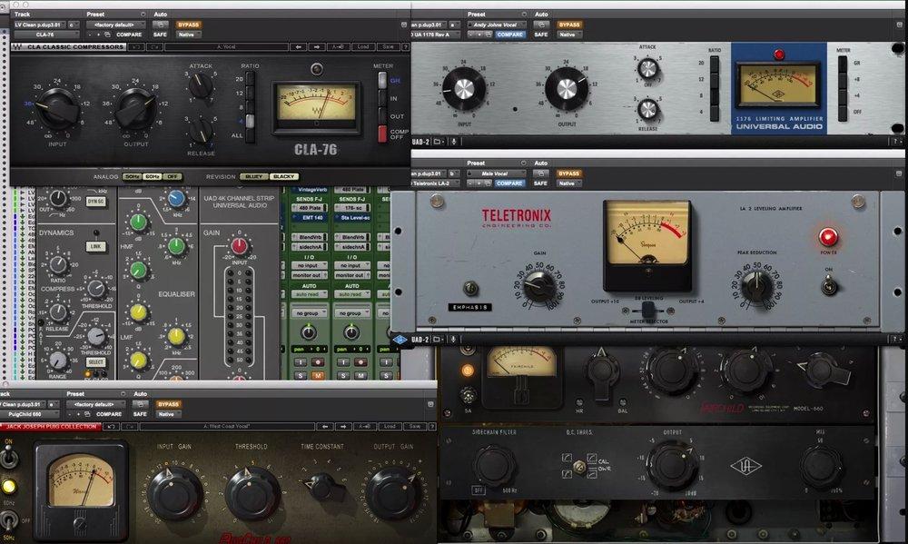 Plug-Ins & Virtual Instruments(Partial List) - 2C Audio B2 ReverbAuto-Tune v8Avox ChoirAvid BNRAvid Eleven LEAvid HeatAvid HybridAvid Music Production Toolkit (All)Avid ProTools HD Perpetual Bundle (All)Avid Smack!Avid Sound ReplacerAvid SpaceAvid StructureBlueCat MeterBlueCat RTABrainworx Digital v3Brainworx SaturatorDrumagog v5 ProiZotope RX v4iZotope Ozone v5McDSP Channel G v6McDSP Classic Pack v6Quiet Art Ltd.Wave Rider v3Sample Magic A/BSie-Q v5Slate Digital GF-X Virtual Mastering ConsoleSlate Digital Virtual Console CollectionSlate Digital Virtual Tape MachinesSlate Digital Virtual Mix RackSoundToys Bundle v5 (All)UA 1176 LNUA 1175 SEUA 610-B Tube Preamp/EQ Plug-InUA Ampex ATR-102UA AMS RMX16 Digital ReverbUA Brainworx bx_refinementUA Cooper Time Cube Mk II DelayUA EMT 140 Plate ReverbUA FairchildUA Helios Type 69 EQUA LA-2AUA Little Labs IBPUA Neve 88RS Channel Strip CollectionUA Neve 1073 CollectionUA Neve 1073 / 1073 Classic ConsoleUA Neve 31102 / 31102SE Console EQUA Precision Enhancer HZUA Precision Mix Rack CollectionUA Pultec EQP-1A LegacyUA Pultec Passive EQ CollectionUA Pultec Pro EQ LegacyUA RealVerb-ProUA SPL Transient DesignerVocALign
