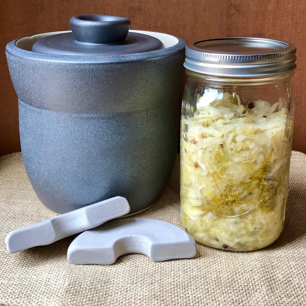 Fermenting Crock & Dill Pickle Kraut