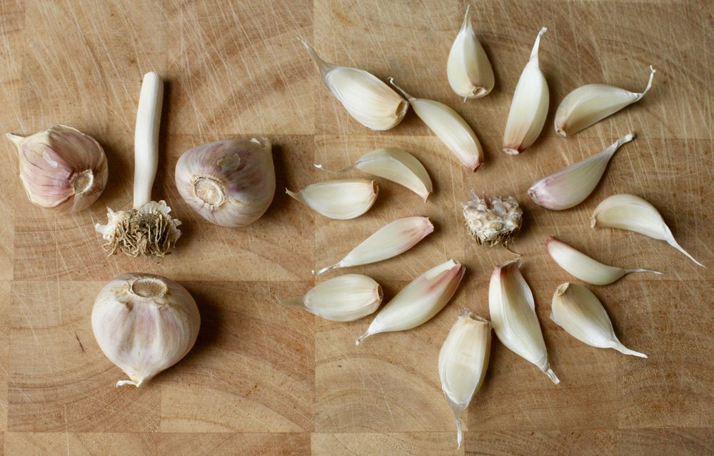 The hard-neck garlic on the left has a central stem, or neck, and a single layer of large cloves. The soft-neck garlic on the right has no central stem, but instead has multiple layers of cloves arranged somewhat like artichoke leaves.