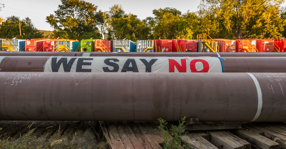 A message from activists on the Algonquin pipeline.Photo by Erik McGregor