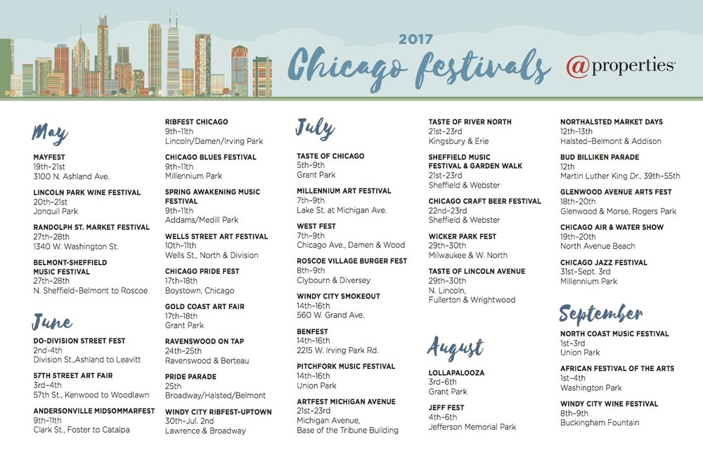 Chicago 2017 Summer Events Calendar