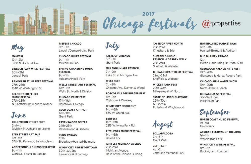Chicago 2017 Summer Events Calendar