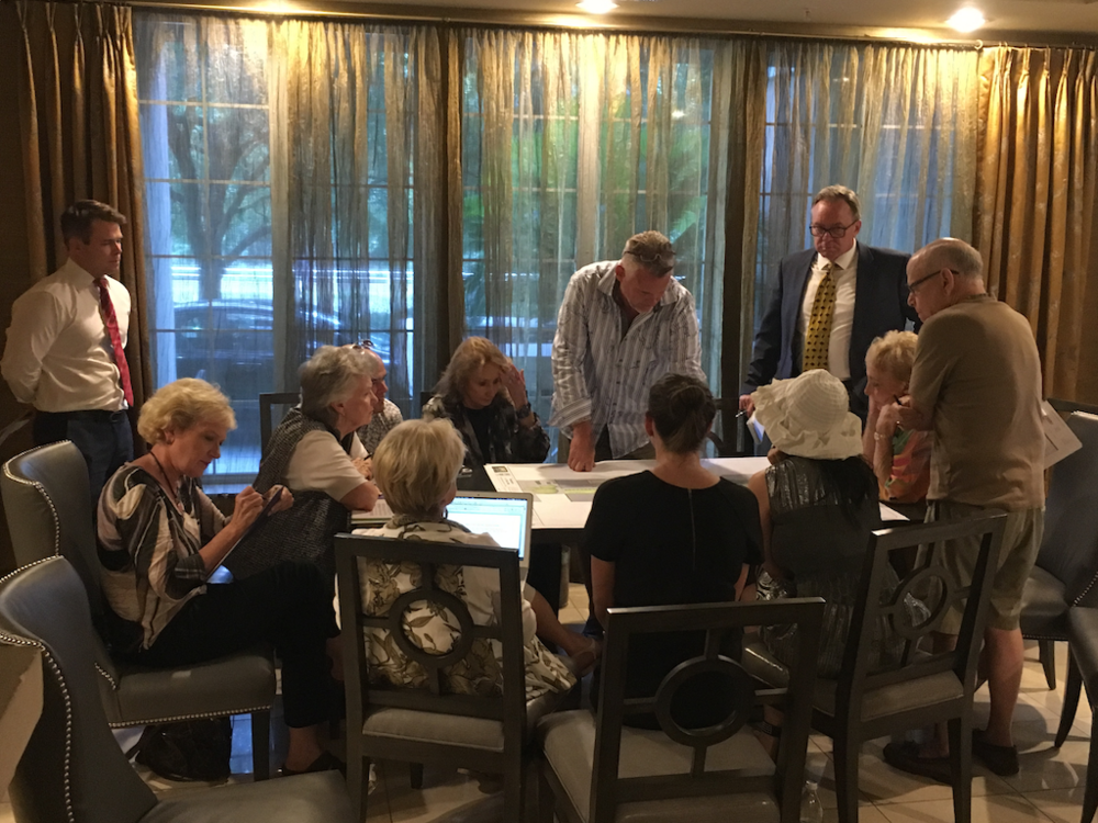 Design and Upkeep - 1st Wednesday of the month7:00 pmEast Tower Wallace RoomThis committee is responsible for generating ideas and submitting proposals to the Board regarding recreational facilities, such as our pool decks, fitness centers, dog walk areas, café space, etc.Photo: August 9, 2016 committee meeting to review plans for the new Dog Walk Area.