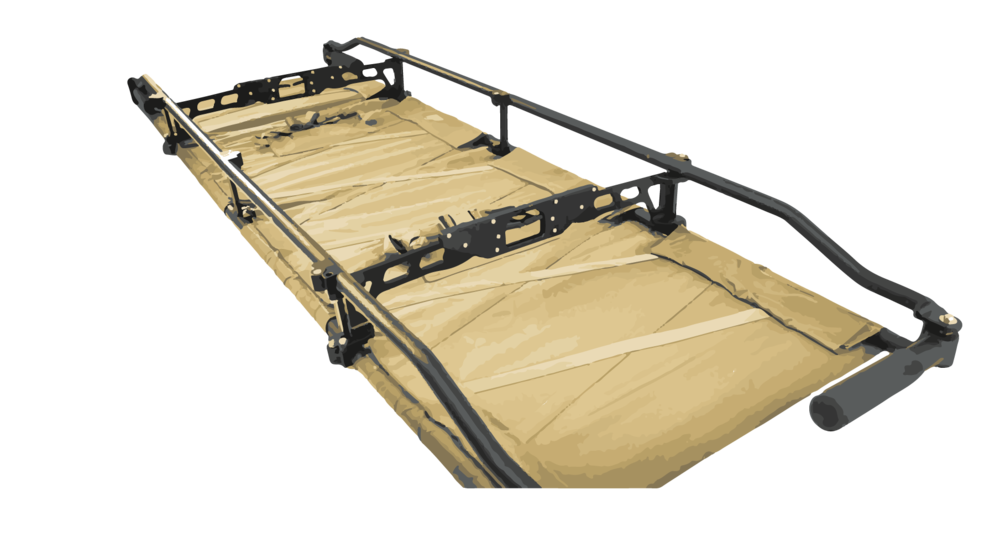 Multi Year Effort - The result of a multi-year RDT&E effort is a litter that has multiple versions of its proprietary detachable bed system. The bed system may be removed and used as a poleless litter. This allows for full decontamination of the litter frame after chemical or biological exposures.