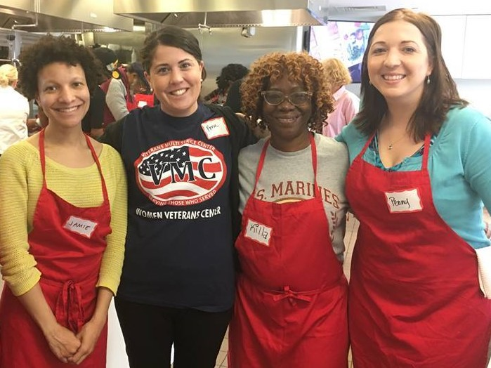 Women veterans participate in a monthly cooking class sponsored by the Free Library of Philadelphia Culinary Literacy Center