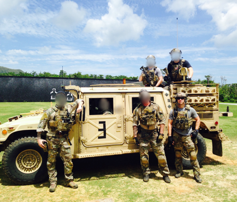 Pictured: Thomas and team members from U.S. Army Special Forces
