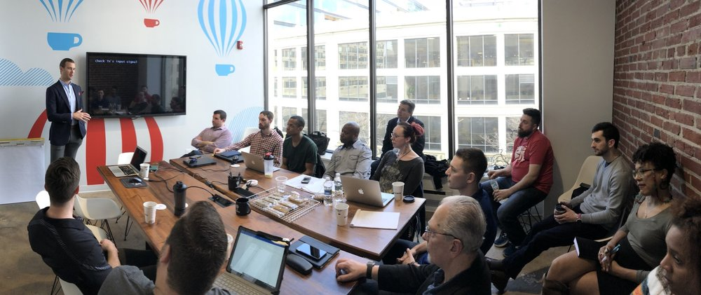 Saxby's CEO Nick Bayer leading a Launch Lab X session earlier this year