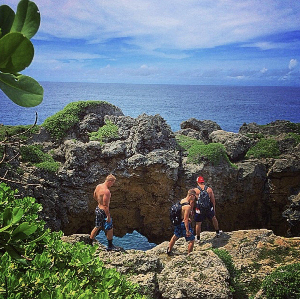 Coleman and his friends exploring Guam during the trip