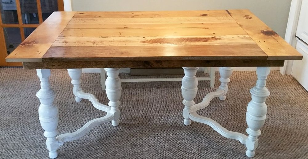 Gorgeous barn wood table top built by Craig  on top of an antique base.