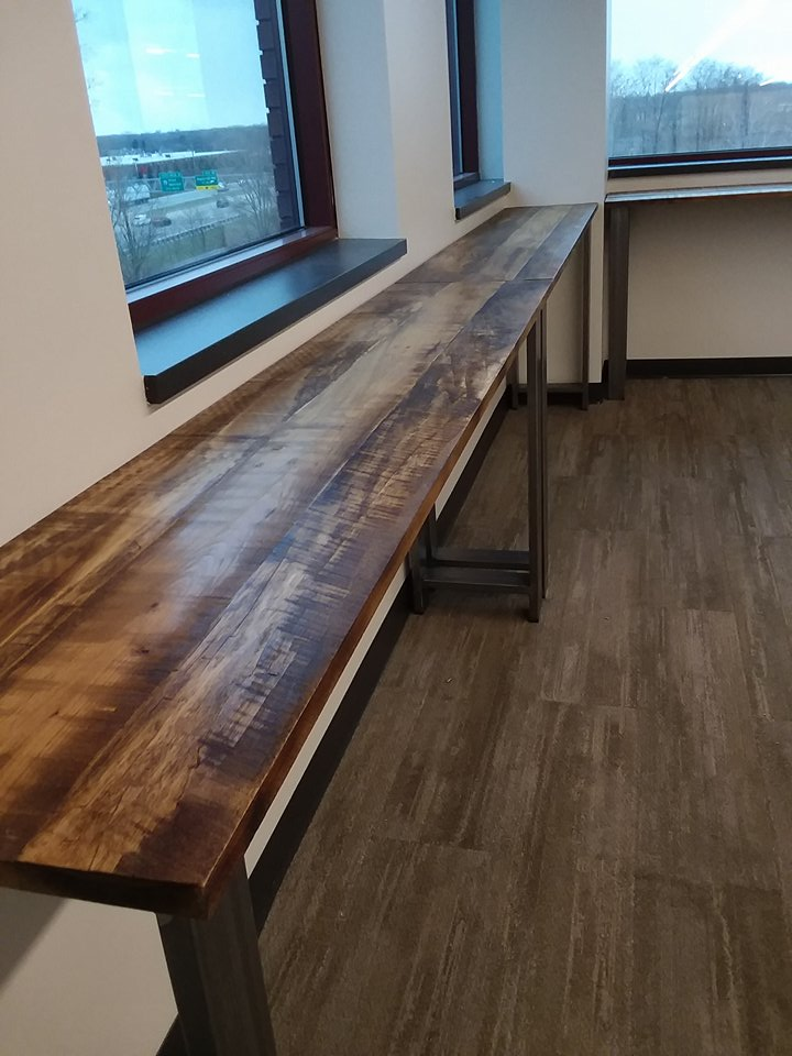 12 Rustic Industrial tables custom built by Craig for Molex Transportation and Industrial Solutions, Quality control office. Iron Legs by Iron Garden Structures.