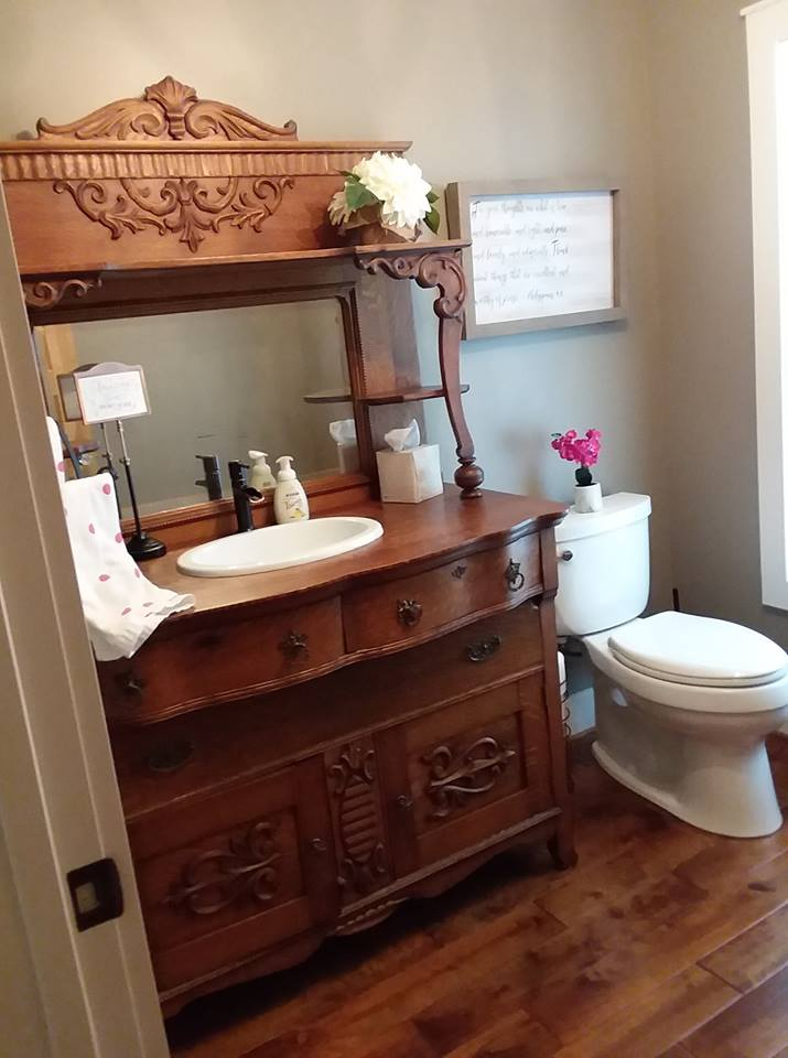Antique buffet restored and converted into a vanity, by Craig.