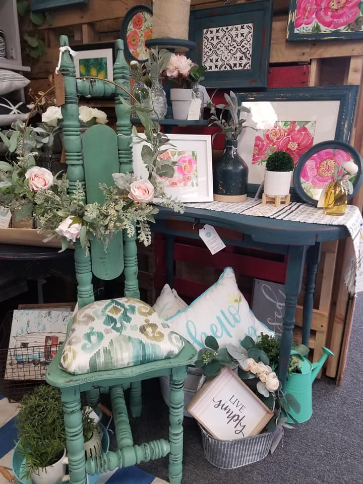 In store display. Decor by Reclaim Essentials, corner chair by Reinvintaged by Amy.
