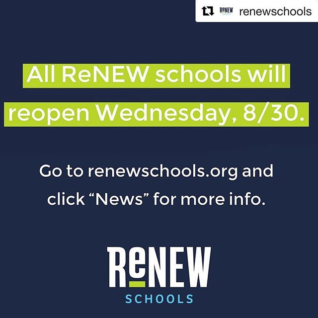 #Repost @renewschools ・・・ All ReNEW schools will reopen Wednesday, 8/30. #renewschools #nolaed #nola