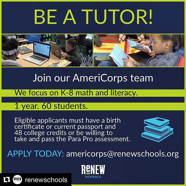 ReNEW is seeking tutors to join our AmeriCorps team.  APPLY TODAY: americorps@renewschools.org #renewschools #americorps #nola #nolaed