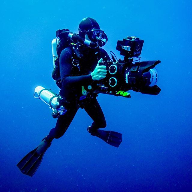 @hughdmiller shooting on a F55 in Gate Underwater Housing during today's closed circuit deep dive to explore the sea floor of Equatorial Atlantic...Photo from @bubbyp08 #ocean #underwater #oceanlover #teamocean #explore #wildernessculture #nofilter #discoverearth #filmlife #photooftheday #gatesunderwater #production #bts #divetheworld