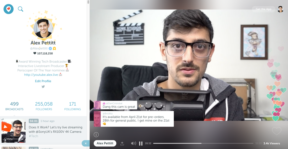 Using the Sony RX100 V live on Twitter's Periscope