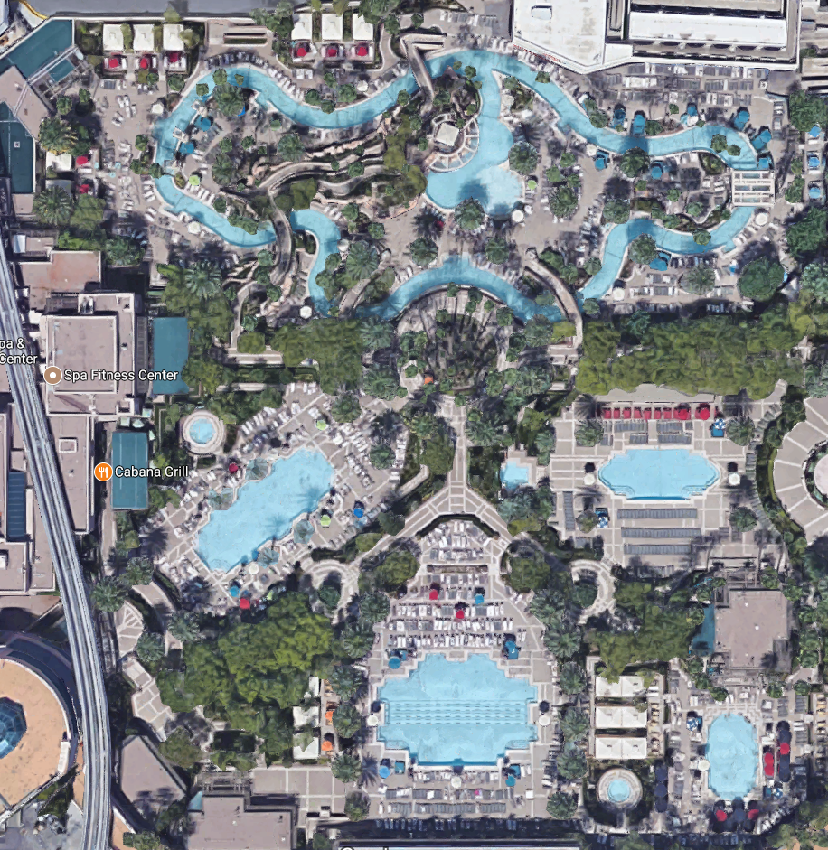 Overhead view of the MGM Grand Pool