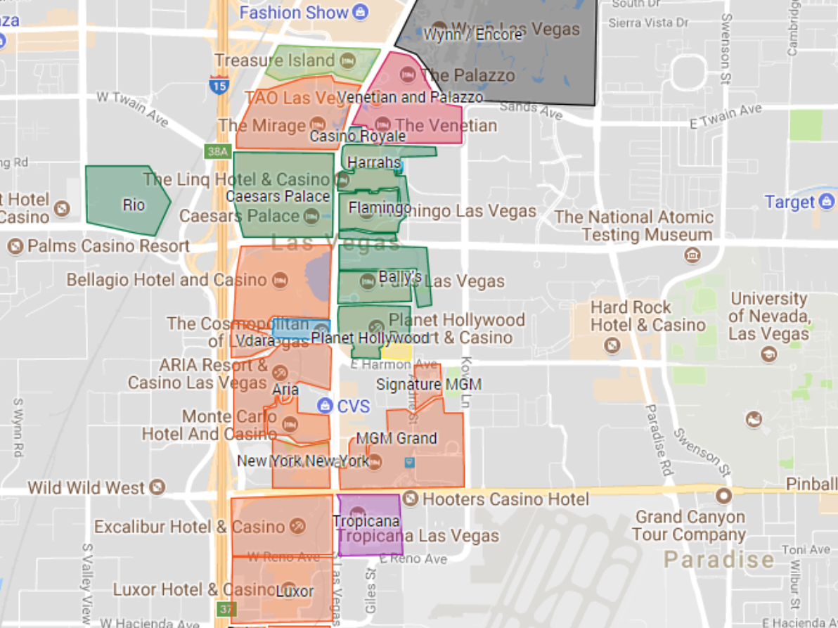 Las Vegas Hotel Map Party Pantheon
