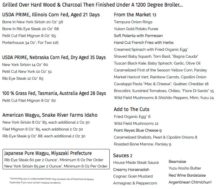 Check out the beef menu at Cut Las Vegas!