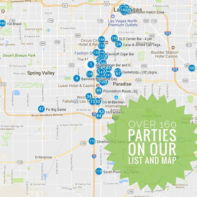Party pantheon is your source for Las Vegas Superbowl parties. We just did a massive update and now have over 160 parties listed. Use our handy map to find parties close to you. Link in bio. . . . . . #lasvegasbiggame #vegasbiggame #vegas #lasvegas #biggame  #superbowl #superbowllasvegas #football #tripplanning #trip #vegastrip