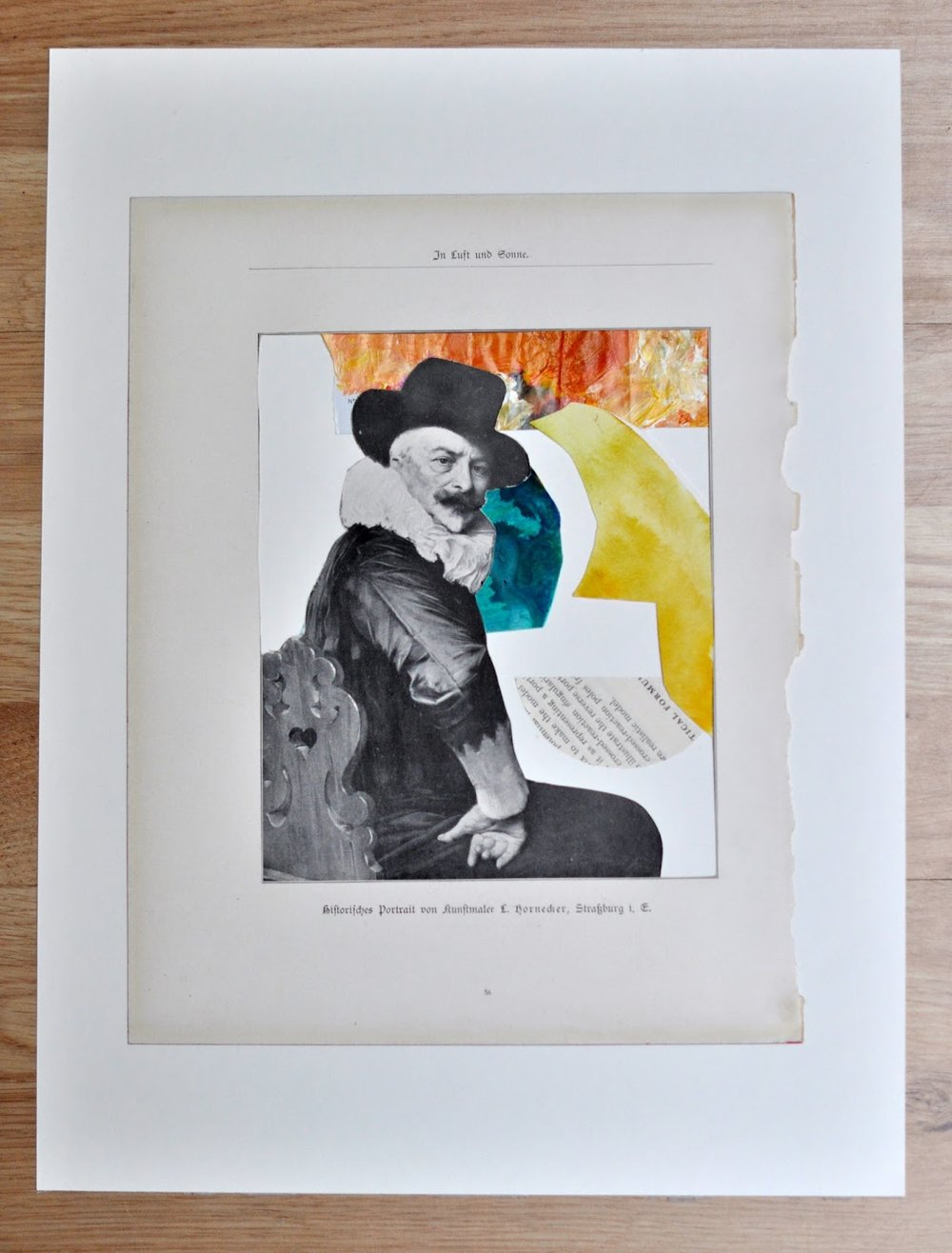 acrylic, paint, portraiture, realistic, book, vintage, found object, german, collage, bookpages, abstract, figurative