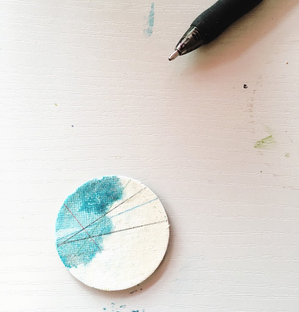 Tiny round painting mixed media collage artist contemporary