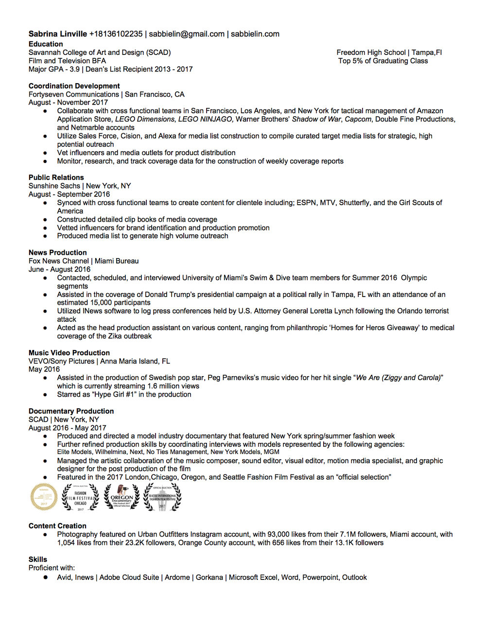 Resume — sabrina linville