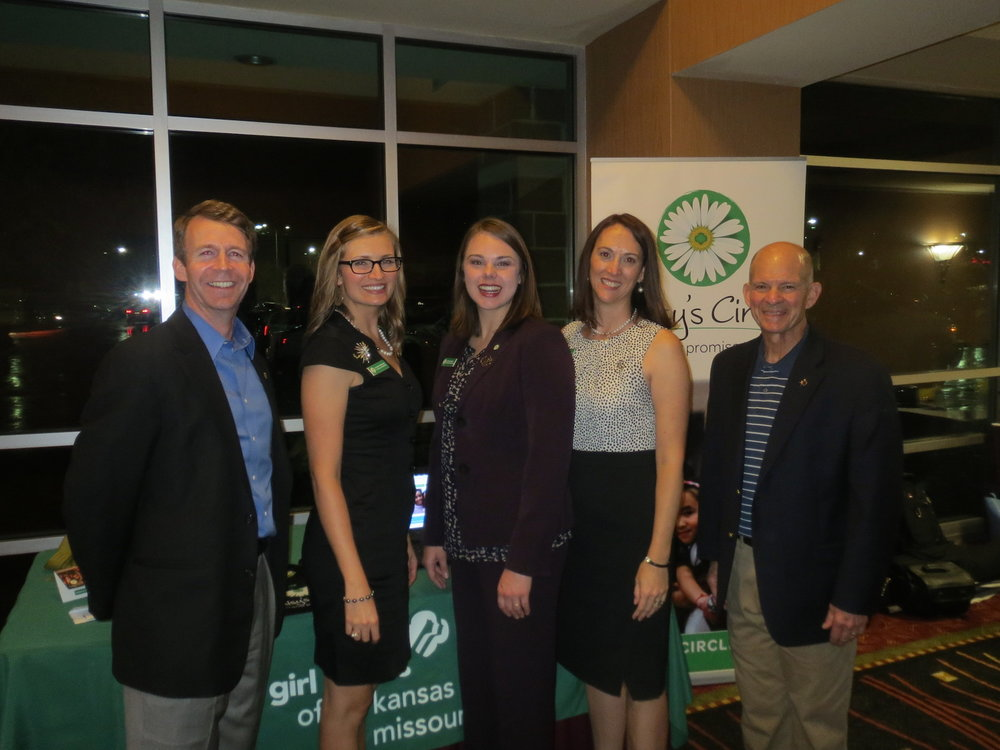 Girl Scouts of NE Kansas and NW Missouri  Daisy's Circle  monthly giving program team members, Elizabeth, Melissa, and Vanessa with TwelveX Brandon Schmidt and Jackson Davis on each end.