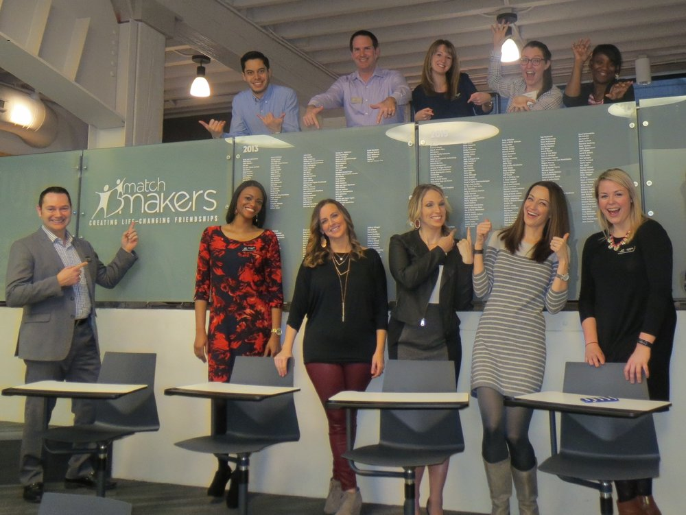 The Big Brothers Big Sisters of Greater Kansas City team honors another class of  Match Makers  monthly givers at their annual  Match Makers  wall unveiling.