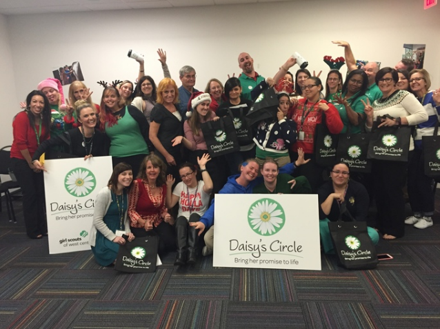 Girl Scouts of West Central Florida staff celebrating with their Daisy's Circle member welcome items. TwelveX's monthly engaged giving methodology helps nonprofits systematically engage their staff and create a culture of philanthropy.