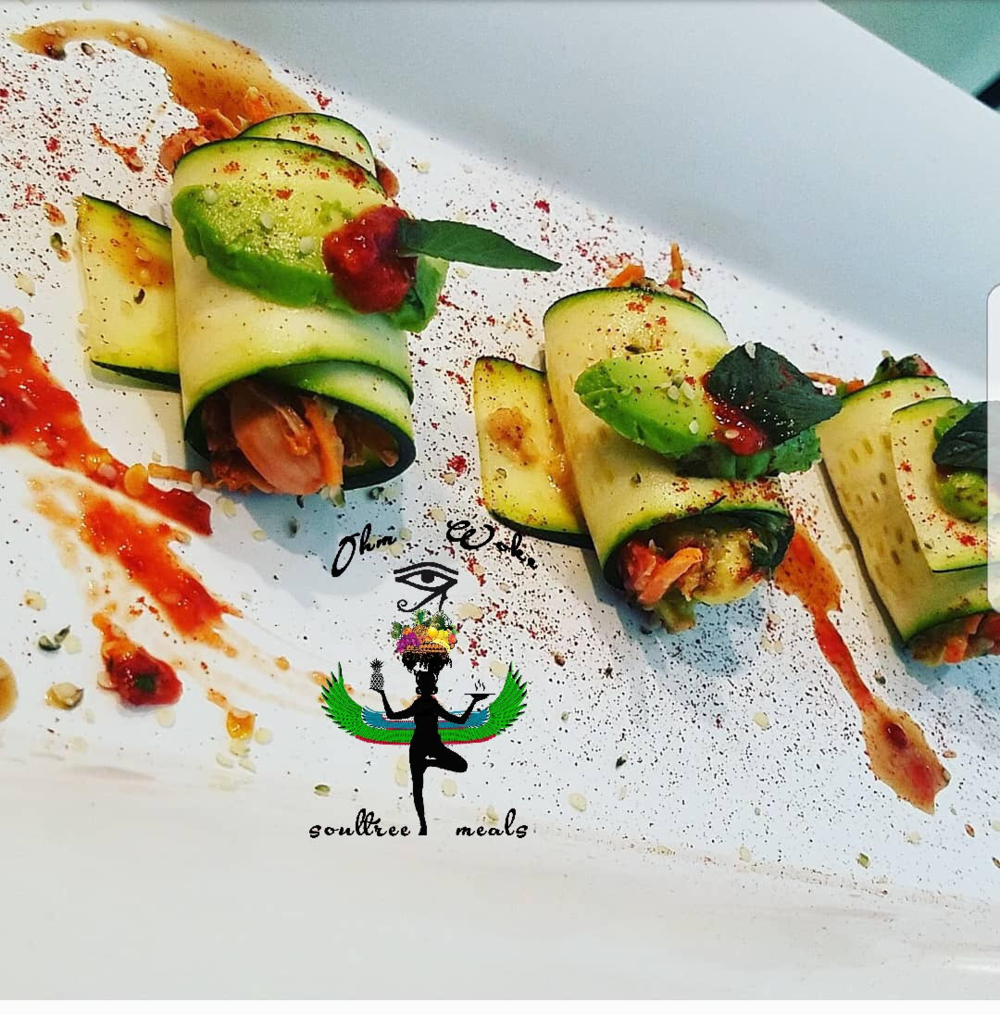 Raw Zucchini Sushi Rolls (R) $11 - (6) Marinated veggies rolled in zucchini strips topped w/ avocado, ginger, mint and basil(add jackfruit $2)