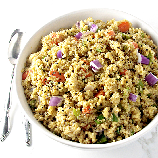 Soaked Quinoa VegetableStir Fry (R) $11.75 - Quinoa and vegetables tossed in sesame oil, coconut aminos topped w/ walnut crumbles