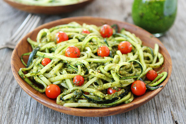 Pesto Zucchini Noodles (R)$11 - Pesto noodles tossed w/ chickpeas, cranberries, and sun dried tomatoes