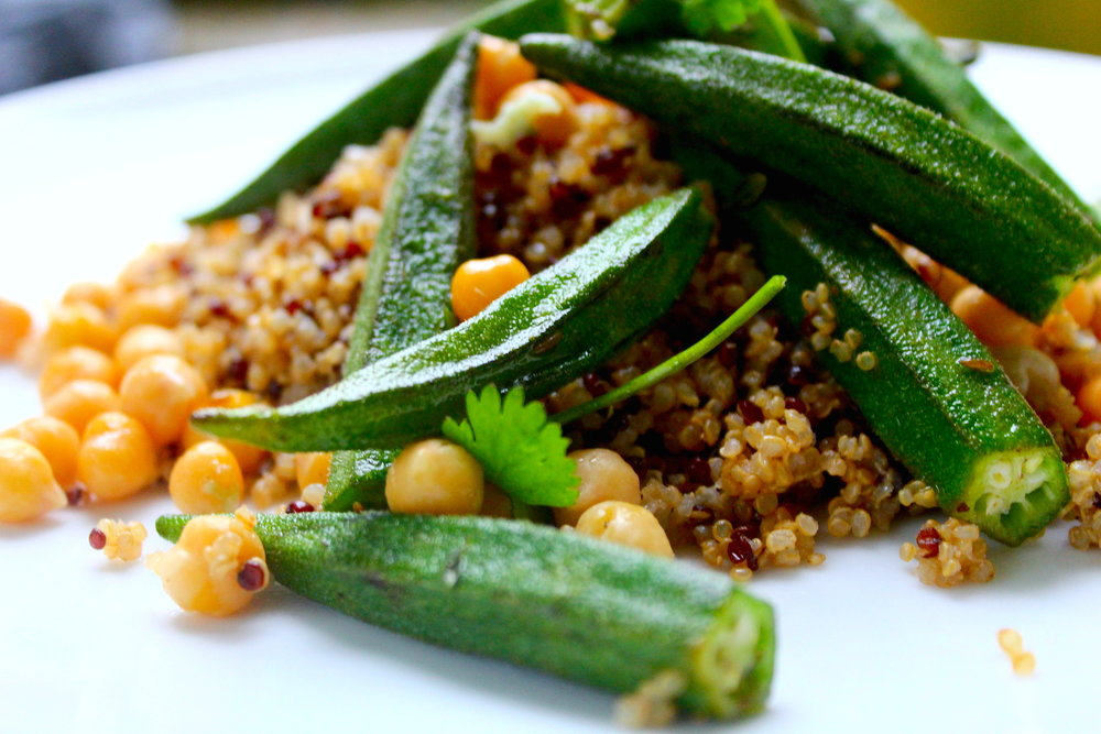 Ohmmkra Saute'e (A) $12 - Sautéed Okra and chickpeas on a bed of quinoa in a tomatoe and herb sauce w/ a side of callaloo.