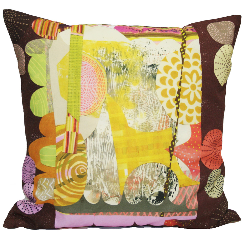 Digitally printed textile from collage and digital made into pillow cover