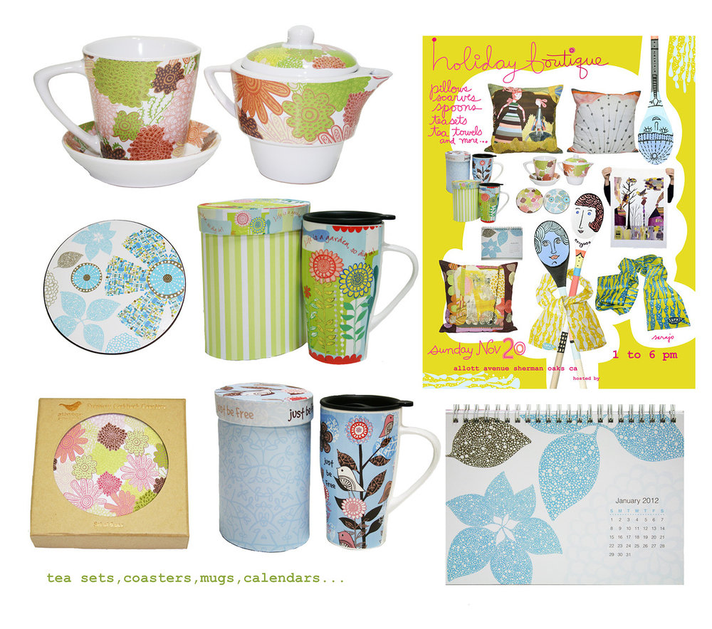 A selection of products using my designs. Tea sets and mugs are available here
