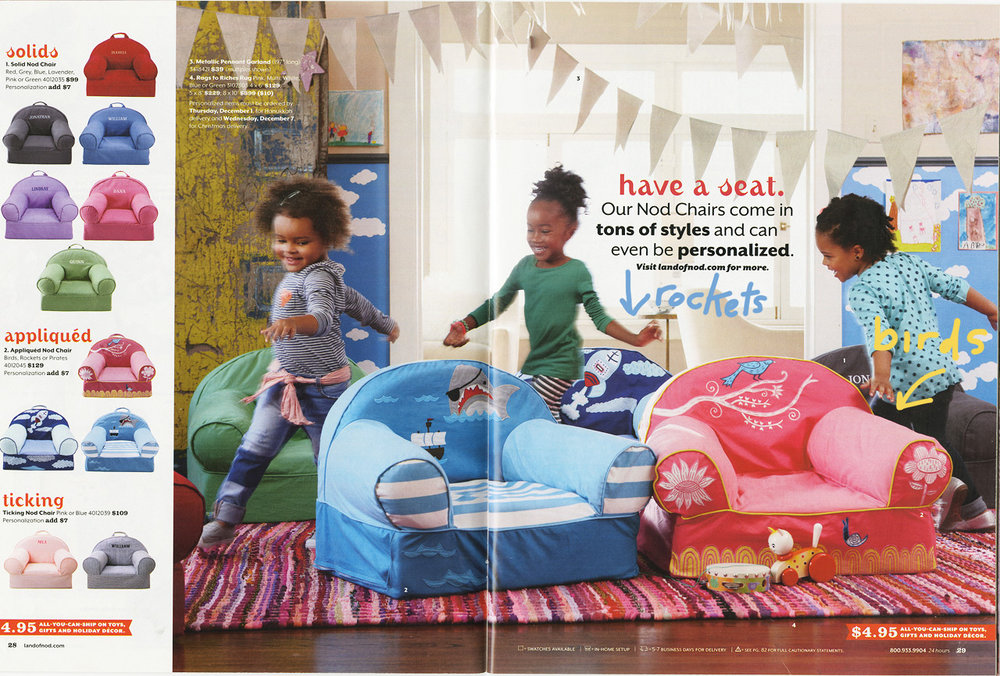 From Land of Nod's 2012-13 catalogue. Featuring two of my embroidered chairs: Rockets and Birds.