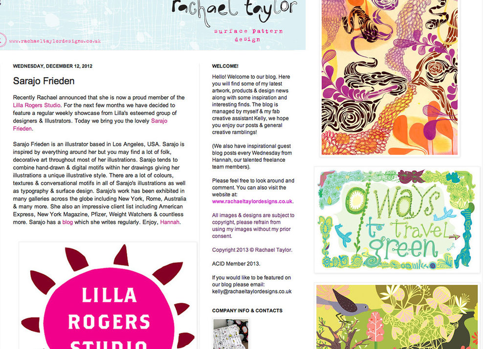 To celebrate joining the Lilla Rogers Studio, Rachel Taylor has been featuring the agency's designers & illustrators on her blog. So pleased to be one of them, and welcome Rachel!   link
