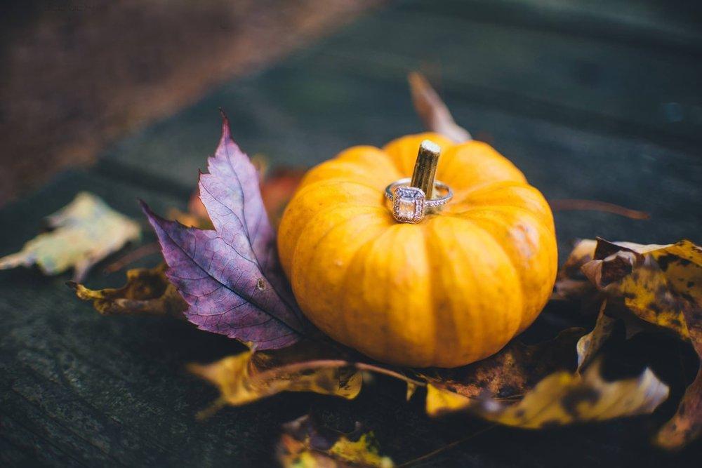cushion cut engagement ring on top of a mini pumpkin in the fall with leaves