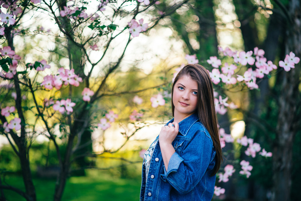 high school senior model with denim jacket in front of flowering dogwood tree